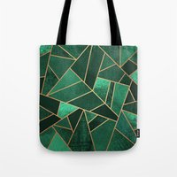 copper Tote Bags featuring Emerald and Copper by Elisabeth Fredriksson