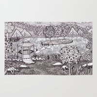 vermont Area & Throw Rugs featuring Zentangle Vermont Mountain Pond by Vermont Greetings