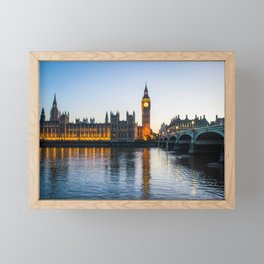 Big Ben During Sunset | London England Europe Cityscape Night Photography Framed Mini Art Print