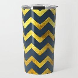 Navy & Gold Chevron Travel Mug