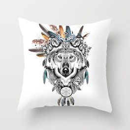 Bohemian Wolf with Feather Headdress Throw Pillow