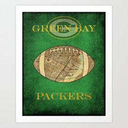 A Packers poster with the stadium map superimposed on a football soc5 Art Print