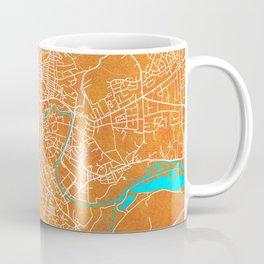 Norwich, England, Gold, Blue, City, Map Coffee Mug