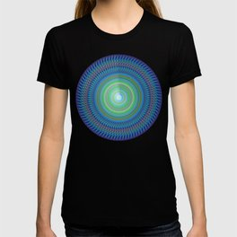 Navy blue round decorative T-shirt