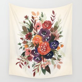 Country Fall Watercolor Bouquet Wall Tapestry