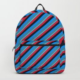 Blue Red Inclined Stripes Backpack