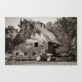 Tractor and Vintage Barn Farmhouse - Sepia Edition Canvas Print