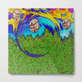 Rainbows and after the rain,it comes fishes over the tree tops. Metal Print