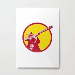Hunter Aiming Shotgun Rifle Circle Retro Metal Print