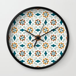 Geometric Pattern, oriental style (nature color set)  traditional morocco tile pattern Wall Clock