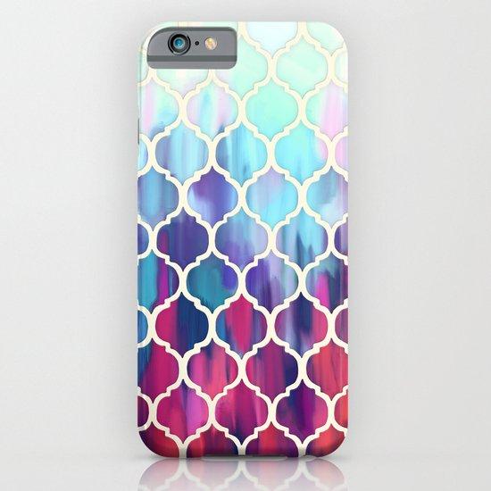 Moroccan Meltdown - pink, purple & aqua painted tiles iPhone & iPod Case