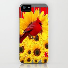 YELLOW SUNFLOWERS RED CARDINAL GREY  ART iPhone Case