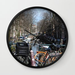 Bike Parked on Canals of Amsterdam Wall Clock