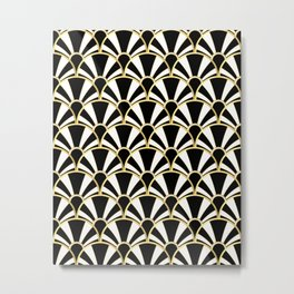 Black, White and Gold Classic Art Deco Fan Pattern Metal Print