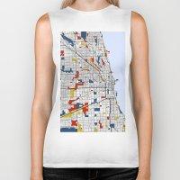 mondrian Biker Tanks featuring Chicago Mondrian by Mondrian Maps