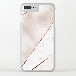 Spliced rose gold marble Clear iPhone Case