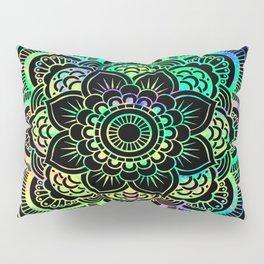 Neon Psychedelic Mandala Pillow Sham