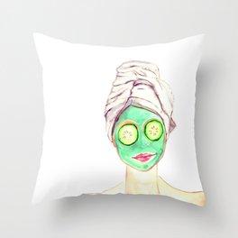 Spa Lady Throw Pillow