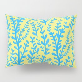 Yellow and Blue Floral Leaves Gouache Pattern Pillow Sham