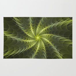 Psychedelic Fractal with Shades of Green Rug