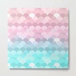 Modern teal pink scallope mermaid gradient Metal Print