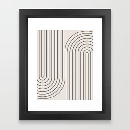 Minimal Line Curvature - Black and White I Framed Art Print