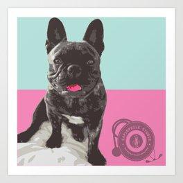Happy French Bulldog - Retro Frenchie Art Print
