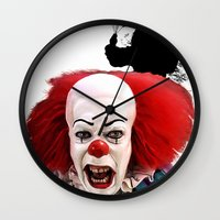 pennywise Wall Clocks featuring Pennywise the Clown: Monster Madness Series by SB Art Productions
