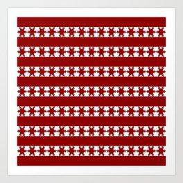 Christmas Snow Flakes Warm Red Art Print