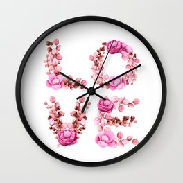 L-O-V-E in Pink Flowers Wall Clock