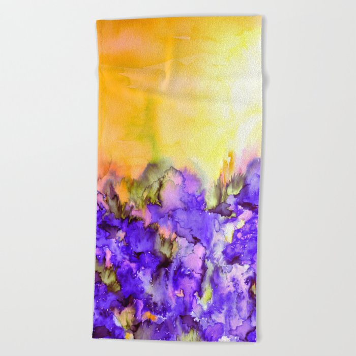 INTO ETERNITY, YELLOW AND LAVENDER PURPLE Colorful Watercolor Painting Abstract Art Floral Landscape Beach Towel