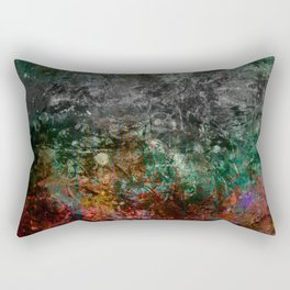 Teal Autumn Grunge Rectangular Pillow