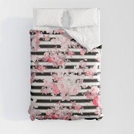 Vintage blush pink floral black white stripes Comforters
