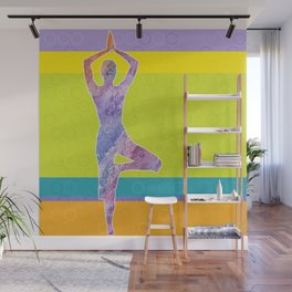 Drawing silhouette of woman doing yoga Wall Mural
