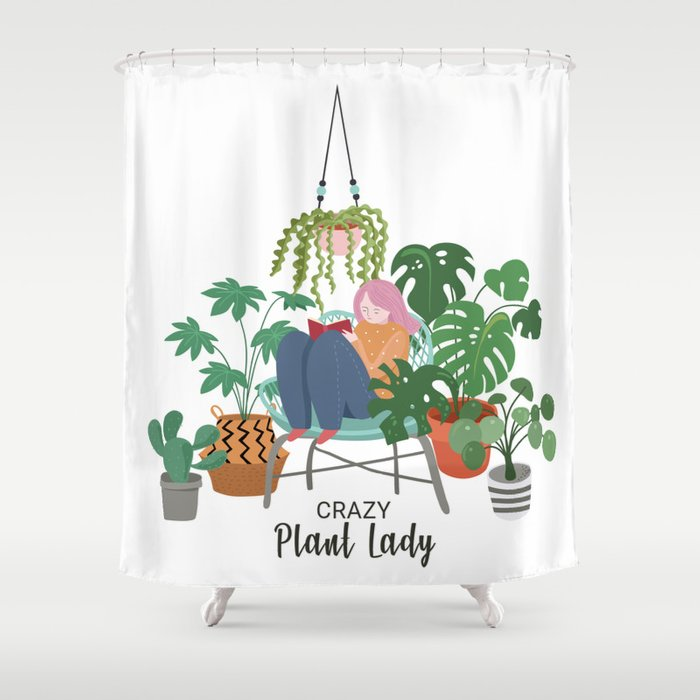 Crazy Plant Lady Shower Curtain By Printpanoply