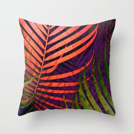 COLORFUL TROPICAL LEAVES no5 Throw Pillow