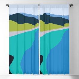 Blue Green Beach Blackout Curtain