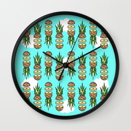 Eat pineapples Wall Clock