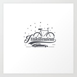 Bicycle with stars and small car Art Print
