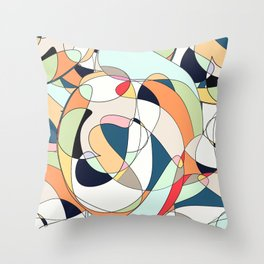 Modern Colorful Abstract Line Art Design  Throw Pillow