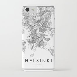 Helsinki City Map Finland White and Black iPhone Case
