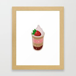 Pudding Strawberry with Whipped Cream Framed Art Print
