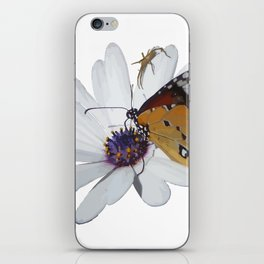 White Daisy and Meadow Brown Butterfly Vector iPhone Skin