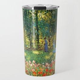 Claude Monet The Artist's Family In The Garden Travel Mug