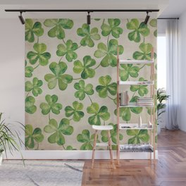 Watercolor Shamrock Pattern on White Wall Mural