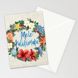 Mele Kalikimaka Hawaiian Beach Christmas Wreath Stationery Cards