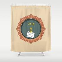221b Shower Curtains featuring 221B Bag End by sirwatson