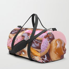 MODERN ART PINK & CHOCOLATE DONUT PASTRY MONTAGE Duffle Bag