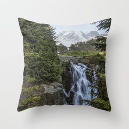 Mount Rainier and Myrtle Falls, Late Afternoon Throw Pillow