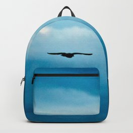 Solitary Seagull Flying Clouds Skyscape Backpack